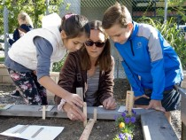 Adult Volunteer Celine Belotti (center) assists Ava Foote in and Lucas Aga in planting vegetables at the Ecology Center at Malcolm Elementary School in Laguna Niguel.    //////// Additional Information  ocfamily.garden 11/12/15 Photo by Nick Koon / Staff Photographer.  The Ecology Center at Malcolm Elementary school trains teachers and volunteers on gardening so they can then teach students on how to start and maintain a garden.