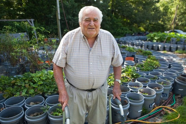 Willie Anderson, 82, maintains a garden of 1,000 fruit and vegetable plants in buckets at his home in Red Banks, Miss. The garden requires no special equipment. There'€™s no hoe on the place, he said. And it'€™s totally organic. I use grass clippings, soybean stalks, cotton hulls, he said.